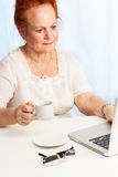 Old lady reading her email. Confident old lady sitting behind the desk and reading her email Royalty Free Stock Image