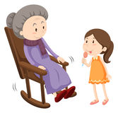 Old lady on rocking chair and a girl. Illustration stock illustration