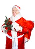 Old Lady- Santa. Old Lady. Santa Clause with the bag with gifts royalty free stock photos