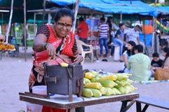 Old Lady Selling Corns at Juhu, Mumbai, India