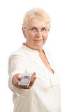 Old lady showing cell phone Stock Photography