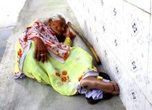 An old lady sleeping Stock Photo