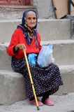 Old Lady on the Steps stock images