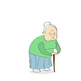 Old Lady With Stick Walking Royalty Free Stock Photo