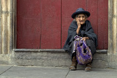 Old Lady in Sucre stock photography