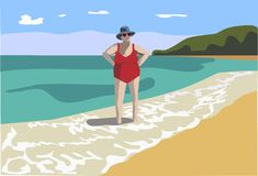 Old lady in swimsuit Stock Images