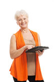 An old lady with tablet. Stock Photography