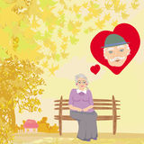 The old lady thinks about the man she loves Stock Photography
