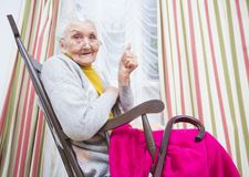 Old lady thumbs up Stock Image