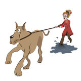 Old lady trying to walk with big dog. Illustration of old lady trying to walk with big dog on the puddle Stock Photo