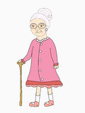 Old lady - Vector illustration Stock Photo