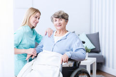 Old lady with walking problem Stock Image