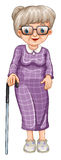 Old lady with walking stick Stock Image