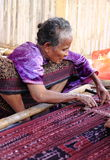 Indonesian Old woman weaving  Royalty Free Stock Photography