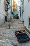 Old laguage in the city of Lisbon; Portugal. Old laguage in the city of Lisbon, forgotten on some stairs ; Portugal royalty free stock images