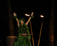 Old Lahaina  Luau - Hawaii dancer Stock Images