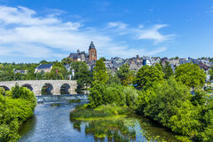 Old Lahn bridge and view to  Wetzlar dom Stock Photo