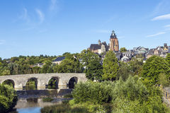 Old Lahn bridge and view to Wetzlar dome royalty free stock photos