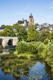 Old Lahn bridge and view to Wetzlar dome Stock Image