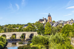 Old Lahn bridge and view to Wetzlar dome Stock Images