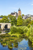 Old Lahn bridge and view to Wetzlar dome Stock Photos