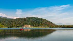 An old lake in a mountainous area Stock Photos