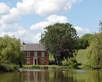Old Lakeside House. Old country house by a lake royalty free stock photography