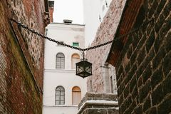 Old lamp in the castle. old street lamp in the castle royalty free stock photography
