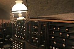 Old lamp in cellar of pharmacy-museum in Lviv, Ukraine stock photos