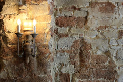 Old lamp and cracked concrete vintage wall Royalty Free Stock Images