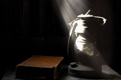 Old lamp and dark wall. Stock Image