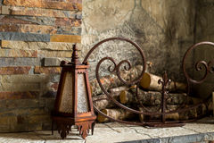 Old lamp. By the fireplace royalty free stock images