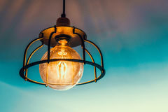 Old lamp with a round bulb royalty free stock photography