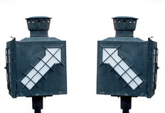 Old lamp at train station and white background Royalty Free Stock Images