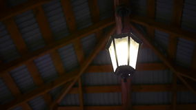 Old lamp under the ceiling night. Old lamp under the ceiling stock video