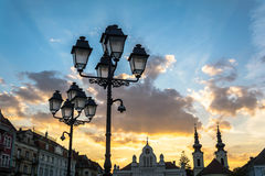 Old lamp in Union square, Timisoara, Romania. Unirii Square is the main square of the ancient fortress of Timisoara Royalty Free Stock Image