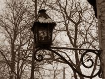 Old lamppost in sepia Royalty Free Stock Images