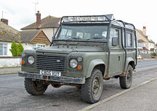 Old land rover jeep Stock Photo