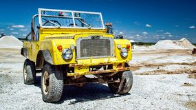 Old Landrover Discovery. Yellow Landrover Discovery 90 4x4 royalty free stock images