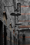 The Old Lane. The 30's lane/alley in 20th Century in Shanghai with the old style road lamps Royalty Free Stock Images