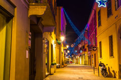 Old lane decorated for Christmas holidays in Reggio Emilia Royalty Free Stock Images