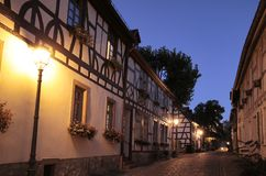 Old lane in Eltville. Old lane with half-timbered house in the evening, Eltville, Rheingau, Hessen, Deutschland Royalty Free Stock Images
