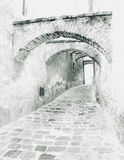 Old lane with graphical effect. Black and white Royalty Free Stock Photography