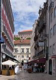 Old Lane in Lisbon. Old houses in the Alfama district in Lisbon, Portugal Stock Photography