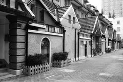Old lane in Shanghai. An old lane in shanghai with historic apartment buildings Royalty Free Stock Photo