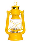Old lantern. Old yellow kerosene lantern isolated on white background Stock Photos