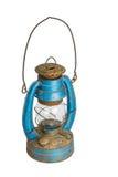 Old lantern. Old blue lantern isolated on white background Royalty Free Stock Image