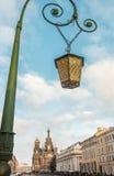 Old lantern on the bridge in St. Petersburg. Winter. Russia Royalty Free Stock Image