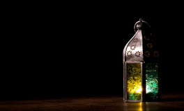 Old lantern with candle at night Royalty Free Stock Photos