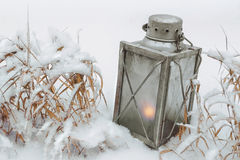 Old lantern with a candle Stock Photography